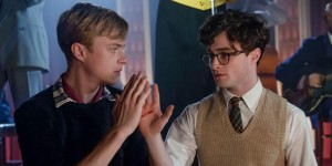 Dane DeHaan as Lucien Carr and Daniel Radcliffe as Allen Ginsberg