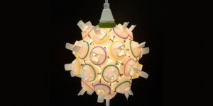 Pendant lamp made from detergent bottle tops and wire, made by Heath Nash, Capetown, South Africa. Photograph: Neil Thomson