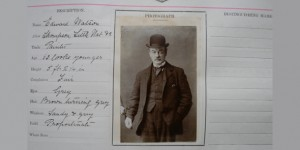 Edward Watson, a criminal arrested in Peterborough in around 1890, and whose photograph is found in the police records in the archives
