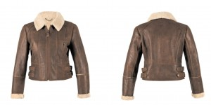 Jacket shown: sizes 8-16. Leather colours 'brick' (as seen above) and dark brown available. £250