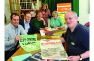 Writer Tim Wilson (front right) with the dedicated volunteers Chris Lane, Geoff Richardson, Fran Louis, Jane Abbott and Ruth Hufford