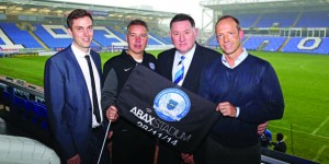 From left to right: Chris Miller, Darren Ferguson, Bob Symns (The Posh Chief Executive) and Frank Ystenes celebrate the sponsorship