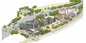 Artist's impression of how Fletton Quays will look